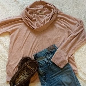 Blush Pink cowl neck lightweight sweater